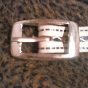 *WOMENS WHITE/BLUE LEATHER BELT with SILVER BUCKLE